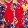 RED FISHES. 2000. Canvas, oil. 80х60 cm