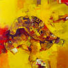 YELLOW TURTLE CHAPAEV.1999. Canvas, oil. 80х80 cm